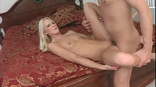 Skinny blonde gets jizzed after riding big cock