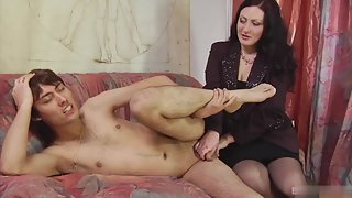Sizzling Lady Fucking Hunky Dude Using Strapon for Longtime
