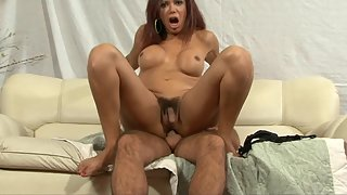 Horny ladyboy gets her butt pounded and mouth jizzed