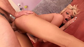 Tasty blonde babe gets punished by hard cock