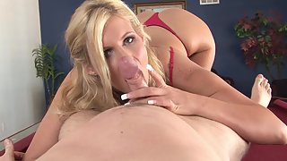 Lingerie wearing blonde with curvy figure gives blowjob in POV
