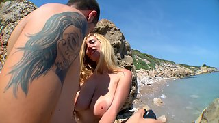 Horny blonde girl with huge boobs get rammed on the beach