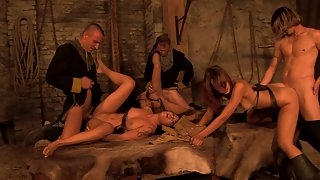 Medieval wild orgy in the castle
