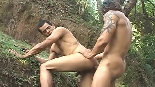 Horny guys have anal sex in nature