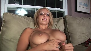 Cute blonde spreads her pussy and masturbates