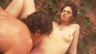 Sexy petite babe gets pounded in the garden