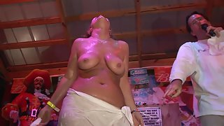 Horny girls dancing and stripping at a party