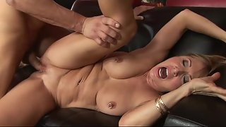 Blonde mature 61 year old slammed hard on the black couch
