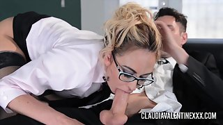 Blonde Claudia Valentine Made Boss Excited Through Blowjob