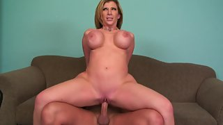 Amazing blonde Milf humps on cock