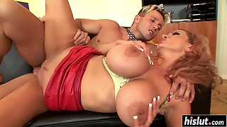 Sharon Pink loves when her boobs bounce as she rides the dick