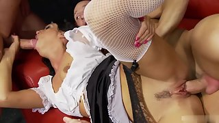 Brunette Fucking Two Naughty Dudes Indoors for Orgasm