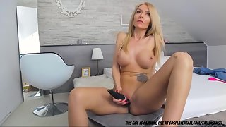 Skinny Blonde Pussy Rubbing and Solo Masturbation Action in Room