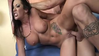 Tattooed busty goddess railed hard by a stiff shaft