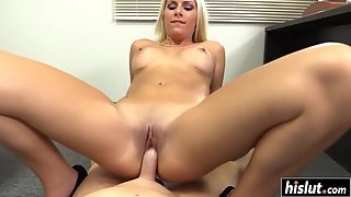 Bubble Ass Blonde Sucking Massive Shaft and Engaged in Hardcore Sex Indoors