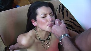 Mature black haired whore gets facialized after getting smashed