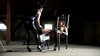 Sexy Mistress Playing Lesbian Sex with Naked Slave for Fun