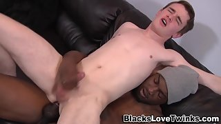 White twink gets his ass pounded by a big black cock