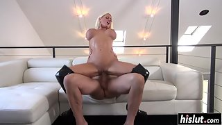 Blonde Shows Fabulous Pussy and Licked As Well As Fucked by Dude