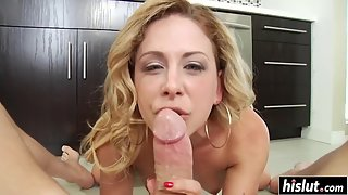 Cherie DeVille gets on her knees to slurp on a big cock pov