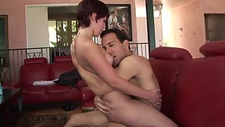 Short haired redhead babe gets rammed by a big dick