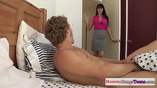 Sexy MILF and the Teen Slammed By the Hunky Man