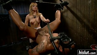 Naughty Mistress Sucking Slave Dick and Playing with Him in Bondage