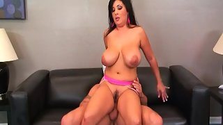 Chubby babe with huge breasts fucked hard in her hairy pussy