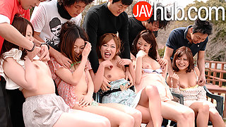 Hardcore Japanese orgy with five sexy ladies