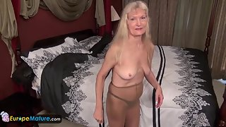 Chubby Blonde Masturbating Herself after Stripping Dresses