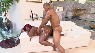 Chubby Black Lady Making Boyfriend Excited by Sucking His Cock