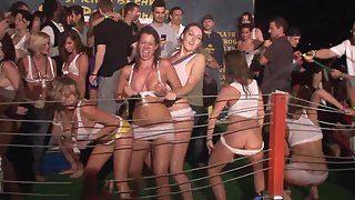 Dirty young chicks show their boobs in wet shirt contest