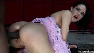 Naughty Brunette Aliz Gives Head and Pounded by Black Dude in Doggy Style