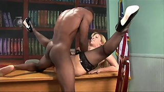 Hot blonde milf in stockings rammed by a bbc