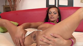 Horny stepsister enjoys oral before having her tight ass fucked and jizzed