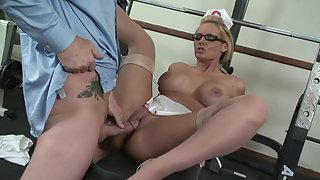 Big titty blonde nurse gets her butthole fucked and creampied