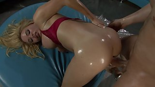 Blonde in red lingerie enjoys messy sex