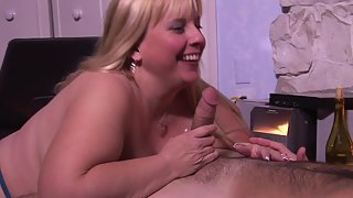 Chubby blonde mature gives head and gets fucked