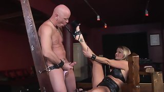 Blonde Jerking Slave Cock and Fucking Him Using Strapon