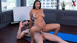 Coach Karl teaches Sofi Ryan the art of yoga while naked