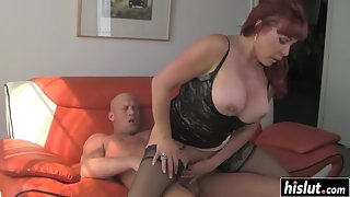Busty milf Vanessa makes his dick disappear