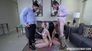 Two adorable stepdaughters swap their daddies in family orgy