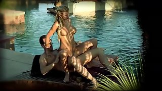 Sexy blonde fucking with her man in the pool at the hotel