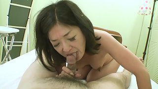 Asian mature gets creampied in front of the camera