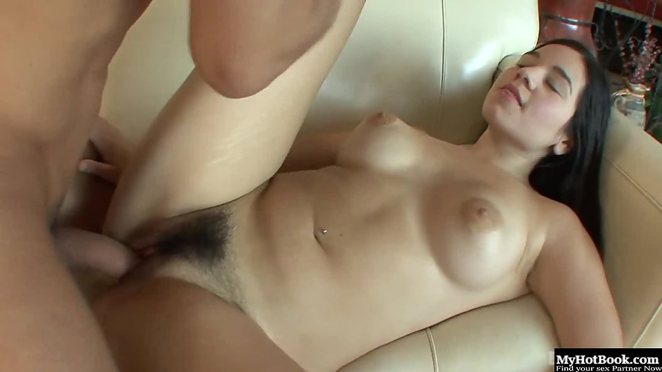 Round Boobs Brunette Nadine Sage Hairy Twat Licked and Fucked by Handsome Dude