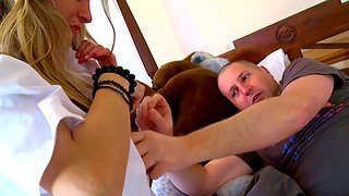 Blonde nurse gets fucked by a patient in his house