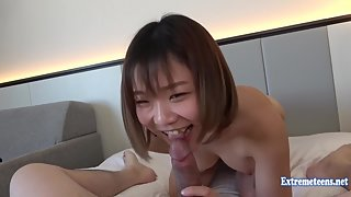 Cute Asian babe blows her boyfriend and gets rammed
