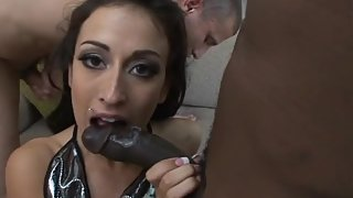 Small tits babe gets anally screwed and mouth jizzed in a gangbang