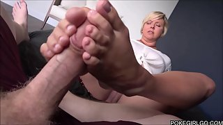 Short haired stepmother gives awesome head and gets banged