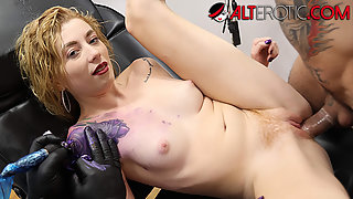 Dirty slut Melissa Rose sucks and fucks while getting a tattoo